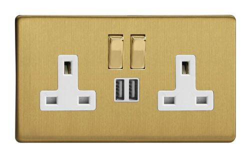 Varilight XDB5U2SWS Screwless Brushed Brass 2 Gang Double 13A Switched Plug Socket 2.1A USB